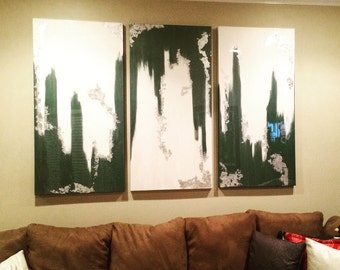 "Three 24"" x 48"" abstract canvases!"