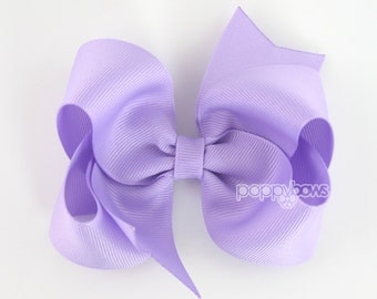 Lavender Hair Bow - 4 Inch Bows - Baby Toddler Girl Hairbows Classic Large Boutique Non Slip Alligator Clips Light Purple