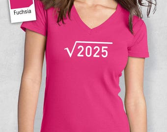 45th Birthday, 1973 Square Root, 45th Birthday Idea, Women's V-Neck, 45th Birthday Present, or Birthday Gift, For The Lucky 45 Year Old!