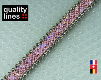 X 18 cm, 10mm flat leather pink glittery beads, 18 cm is big enough for a bracelet up to size XL