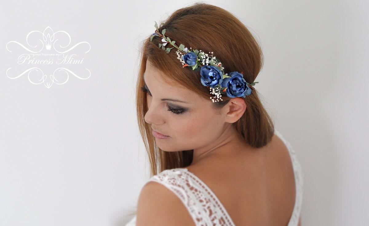 Braut Blumenkranz Hochzeit Haarband Blumen Haarschmuck Elfenkrone in pink , Boho - Hippie Kopfschmuck Haar Blüten, Stirnband Gold Atrosa