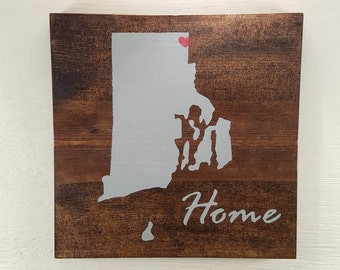 """Pick State, Pick colors, Custom, Wooden State Sign, Rhode Island, 11.25""""x11.25"""""""