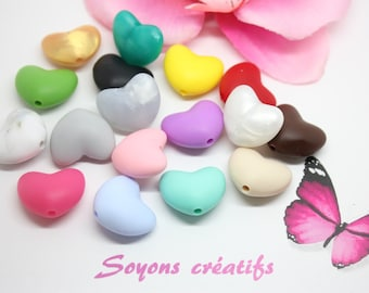 Lot 5 Silicone beads food heart 20mm