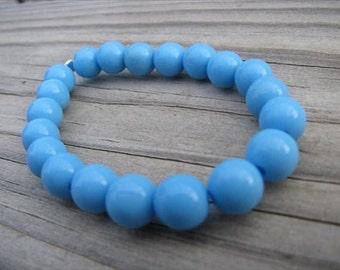 Little Girls Bracelet- Beaded Children's Jewelry- Sky Blue