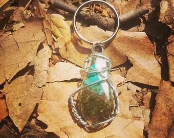Lucid Swirl - Blue Wrapped Cannabis Gemstone - Weed Resin Keychain - MMJ - Medical Grade - Hemp Product