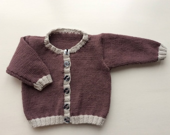 Baby girl's hand knit cardigan in cashmere merino blend yarn, 3 to 6 months