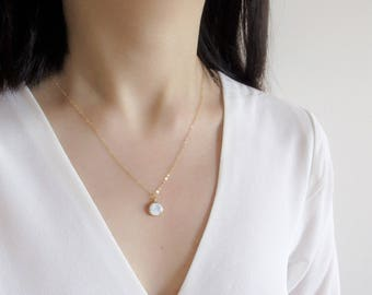 Marble necklace,  gold filled or sterling silver chain