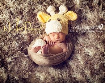 Crochet PATTERN - Crochet Giraffe Hat Pattern - Crochet Hat Pattern - Includes Baby, Toddler, Kids, Adult Sizes - Photo Prop - PDF 175