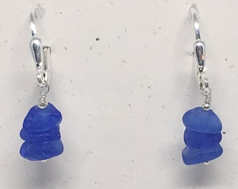 Genuine Sea Glass Sterling Silver Earrings - Stacked Frosted Bright Blue Sea Glass