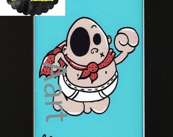 Captain Underpants - 5x7 Print - In a Black 8x10 Matte - Animated - Book Series