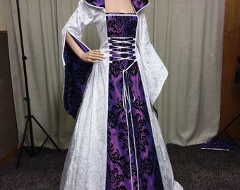 Medieval dress, Gothic wedding dress, handfasting gown, white and black dress, prom gown, renaissance gown, bridesmaid