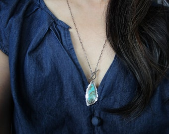 Kingman turquoise leaf - sterling silver necklace, oxidized, one-of-a-kind
