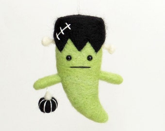 Frankenstein felt Halloween ornament : needle felted ghost with a black pumpkin horror movie character
