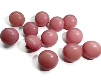 Mauve Vintage Buttons - 12 Small Tawny Pink for Sewing Knitting Baby Doll Clothes