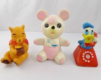 Vintage Rubber Squeek Toys Donald Duck Winnie The Pooh Teddy Bear