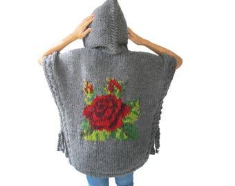 Chunky Poncho, Hoodie Poncho, Wool Poncho, Hand Knit Poncho, Plus Size Poncho, Over Size Poncho, Rose Embroidered Poncho, Woman Poncho