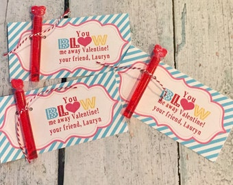 INSTANT DOWNLOAD You Blow Me Away Bubble Valentine's Day Treat Tags Cards