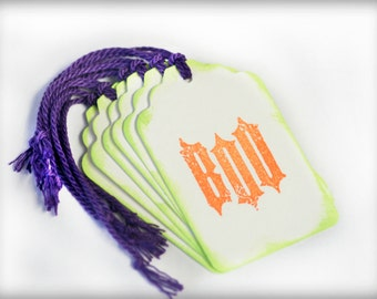 Halloween Boo Tag Handmade 6 Tags Blank trick or treat tag orange purple