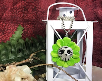 Green Floral, Sugar Skull, Day Of The Dead, Polymer Necklace