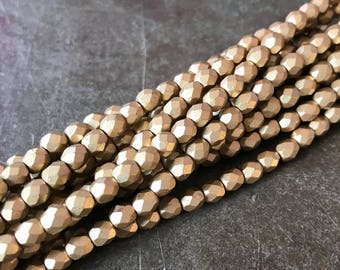 Czech Glass 4mm Faceted Flax Gold