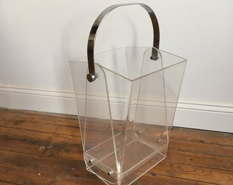 Vintage Lucite Umbrella Stand / Waste Basket