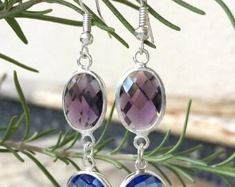 Crystal Dangle Earrings, Blue and Purple Crystal Drop Earrings, Silver Bezel Earrings, Silver Dangle Earrings, Crystal Earrings