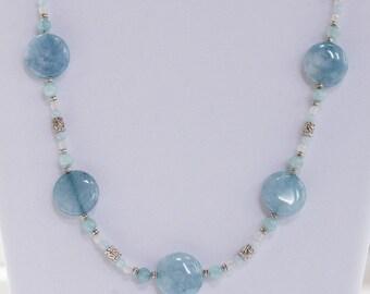 Necklace, Aquamarine and White Jade