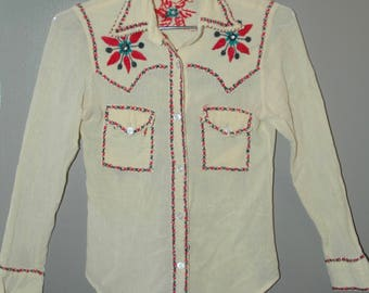 Embroidered 60'/70's  Western Style Indian Gauze Shirt