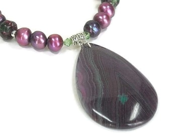 Sale| Freshwater Pearl Necklace, Purple, Ruby Zoisite, Banded Agate Teardrop Pendant, Handmade Pearl Necklace, Pearl Jewelry, Gemstone