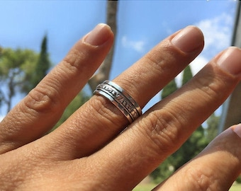 ON SALE, Rustic fidget Ring, Silver Spinning Ring, Simple Spinner ring, Meditation band, Worry ring, Anxiety ring