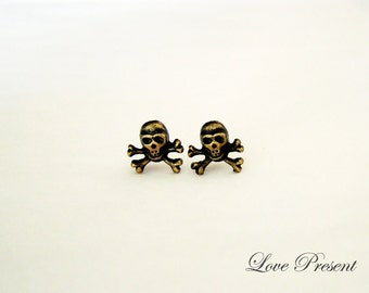 Black Friday Rock N Roll and Punk Skull earrings stud style - Choose your color