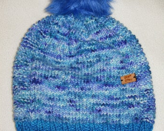 Knit wool beanie -  blue speckles - merino wool and cashmere
