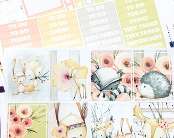 Woodland Friends Weekly Kit | Planner Stickers, Weekly Kit, fall weekly kit, Vertical Planner Kit, autumn weekly kit, woodland animal kit