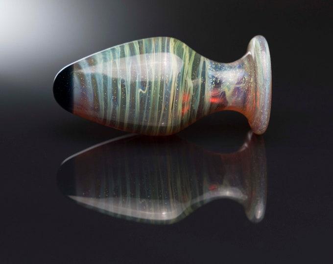 Glass Anal Plug - Large - Rainbow Amber