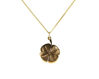 Vintage 9ct Yellow Gold Four Leaf Clover Pendant & Chain