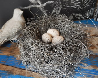 Bird Nest Rustic Handmade Bird Nest with Handmade Speckled Aged Ivory Eggs by Perch And Patina on Etsy