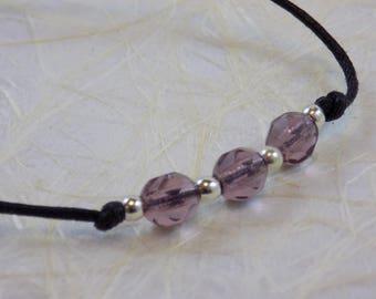 Amethyst Crystals on Black Wax Cord Necklace