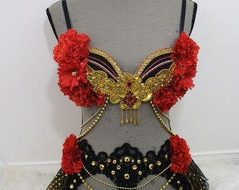 32B Golden Rose Rave Bra Outfit