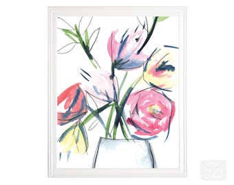 pink flowers - watercolor art print - 8 x 10 inch giclee archival print