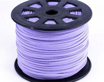 1 meter suede cord 3 mm lilac color