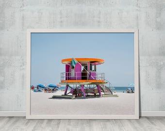 Digital Photography, Miami Art, Fine Art Photography, Summer, Ocean, Landscape, Wall Art, Miami Beach Lifeguard Tower, #6