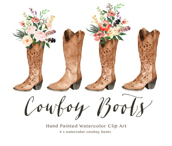 Watercolor Cowboy Boots Wedding Clip Art Collection Individual