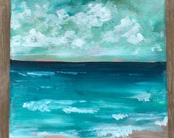 Verde | acrylic seascape with teal waters and soft green skies