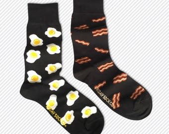 Mens Socks | Mismatched Socks | Bacon & Eggs | Fun Socks | Crazy Socks | Mismatched | Cool Socks | Groom Socks | Funky Socks