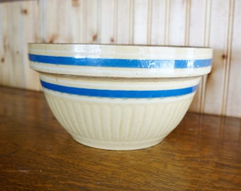 large yellowware bowl with blue stripes vintage mixing bowl