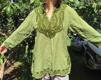 Green Flared Sleeve Tunic