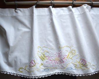 Upcycled Hand Embroidered Valance - Vintage Hand Embroidery - Embroidered Valance - Nursery Valance