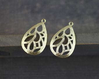 2pcs Gold Plated Teardrop Pendant Filigree Chandelier Earring Charms Findings 17X28mm