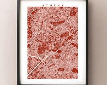 Athens Map Print - Greece Poster