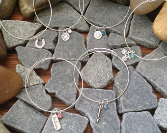 GIFT SET Adjustable Silver Bangle Charm Bracelets